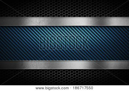 Abstract modern blue carbon fiber with grey perforated metal and polish metal plate textured material design for background graphic design