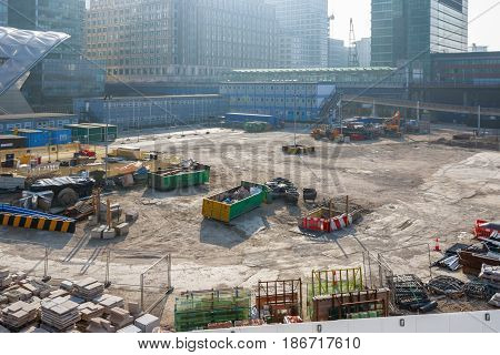 London UK - March 27 2017 - Construction site of Crossrail Place in Canary Wharf