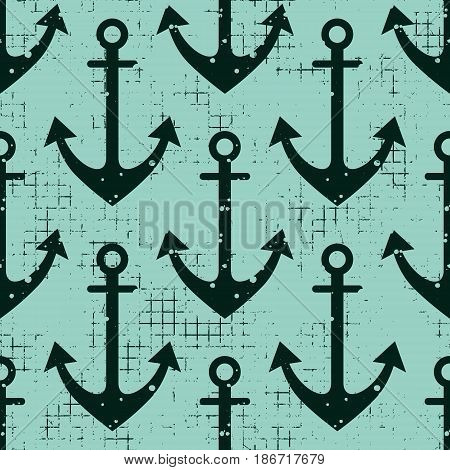 Vector Seamless Pattern Background With Anchor Creative Geometric Vintage Backgrounds, Nautical Them