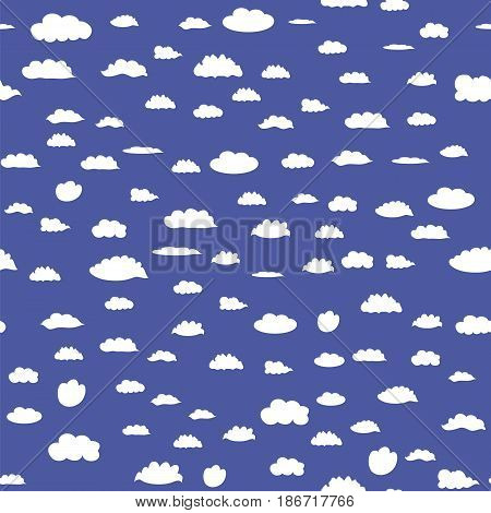 White Cloud Seamless Pattern on Blue Background
