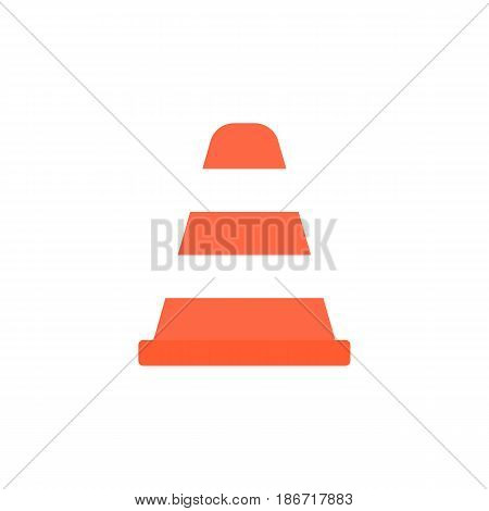 Cone solid icon, navigation and traffic warning sign, vector graphics, a colorful flat pattern on a white background, eps 10.