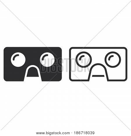 Virtual Reality Cardboard Glasses Line Icon, Vr Headset Outline And Solid Vector Sign, Linear And Fu