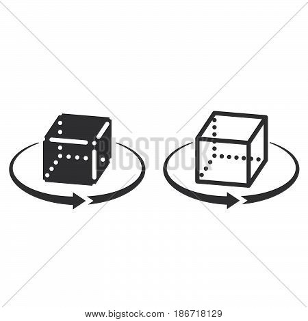 3D Cube Rotation Symbol. Line Icon, Outline And Solid Vector Sign, Linear And Full Pictogram Isolate