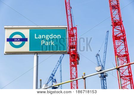 Langdon Park Sign And Building Cranes