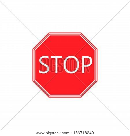 Stop solid icon, Traffic regulatory and red warning stop sign, vector graphics, a colorful flat pattern on a white background, eps 10.