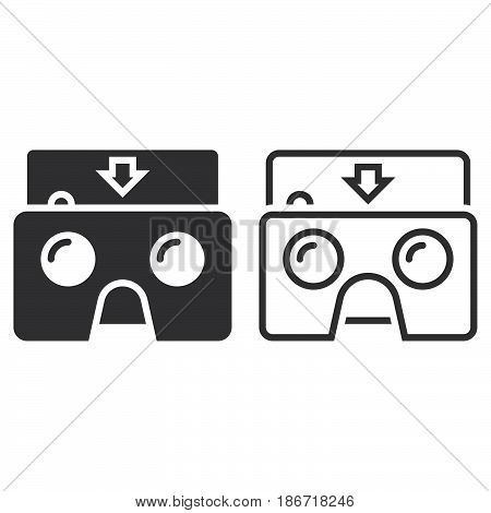 Virtual Reality Cardboard Glasses Line Icon, Outline And Solid Vector Sign, Linear And Full Pictogra