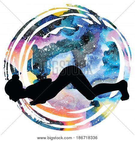 Women silhouette on galaxy astral background. Eight-Limbed Yoga Pose Ashtangasana Vector illustration