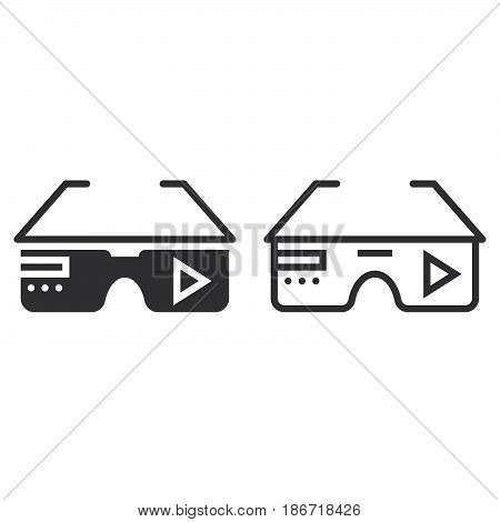Virtual Reality Eyeglasses Line Icon, Outline And Solid Vector Sign, Linear And Full Pictogram Isola