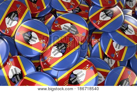 Swaziland Badges Background - Pile Of Swazi Flag Buttons.
