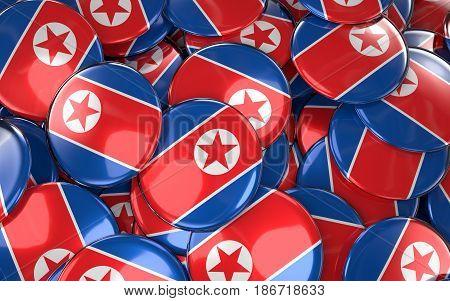 North Korea Badges Background - Pile Of North Korean Flag Buttons.