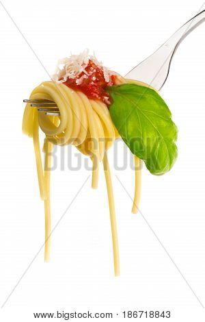 Spaghetti fork italian food carbohydrate isolated closeup tomato sauce