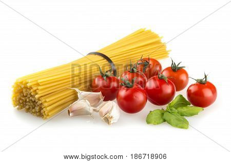Italian food spaghetti dried spaghetti carbohydrate dried food basil cherry tomatoes