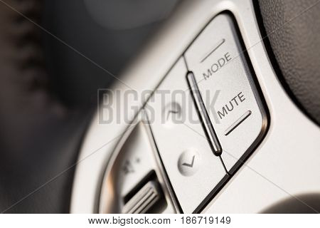 Car radio audio closeup steering wheel change vehicle audio