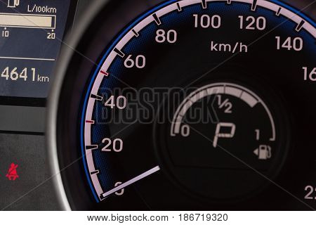 Speedometer car speed transportation speed detector closeup close up