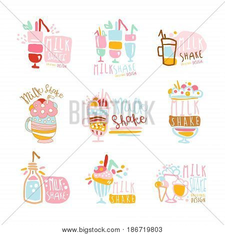 Milk shake labels set. Colorful hand drawn vector collection of milk shake illustrations for ice cream or sweet shop, restaurant, bar, cafe, menu