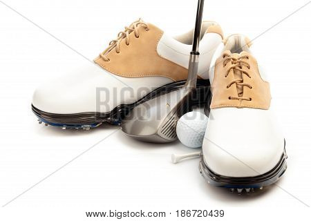 Golf ball golf shoes isolated sport close-up golf tee activity