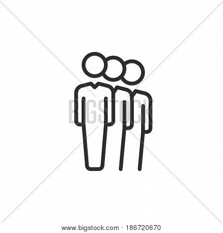 People queue line icon outline vector sign linear style pictogram isolated on white. Symbol logo illustration. Editable stroke. Pixel perfect