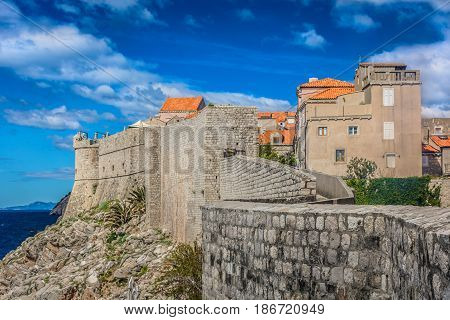 Scenic view at southern sea side of public outdoors City Walls in Dubrovnik town, Croatia Europe.