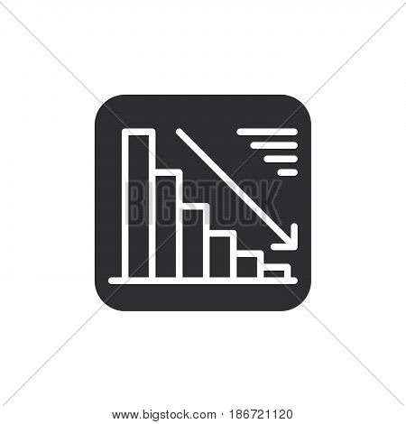Chart goes down icon vector filled flat sign solid pictogram isolated on white. Negative dynamic symbol logo illustration. Pixel perfect