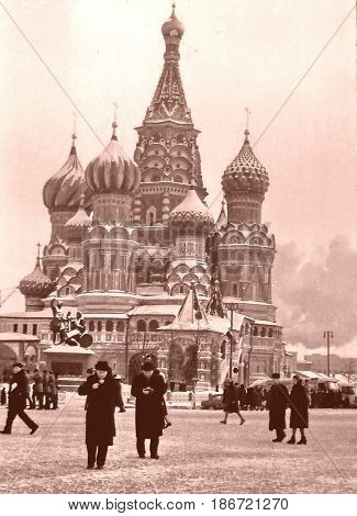 Moscow, Russia - December, 1965: Saint Basil Cathedral on a snowy day.