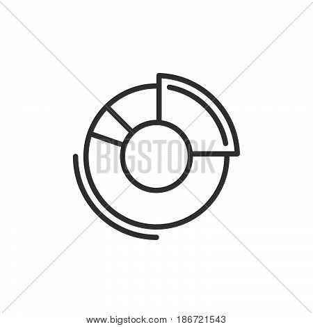 Doughnut chart line icon outline vector sign linear style pictogram isolated on white. Symbol logo illustration. Editable stroke. Pixel perfect