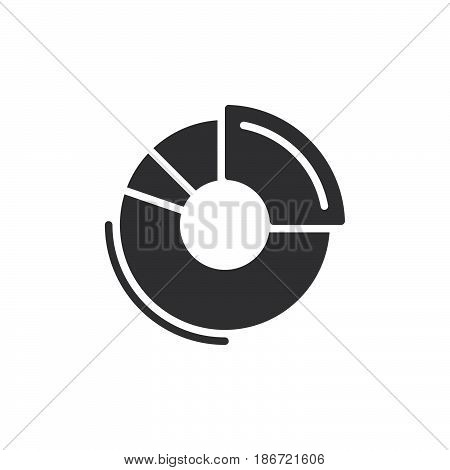 Doughnut chart icon vector filled flat sign solid pictogram isolated on white. Symbol logo illustration. Pixel perfect