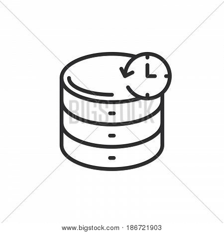 Database backup line icon outline vector sign linear style pictogram isolated on white. Symbol logo illustration. Editable stroke. Pixel perfect