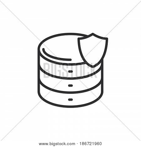 Database with shield line icon outline vector sign linear style pictogram isolated on white. Server protection symbol logo illustration. Editable stroke. Pixel perfect