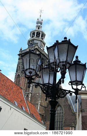 NetherlandsZuid-HollandGouda june 2016: lamppost and St.Jans church