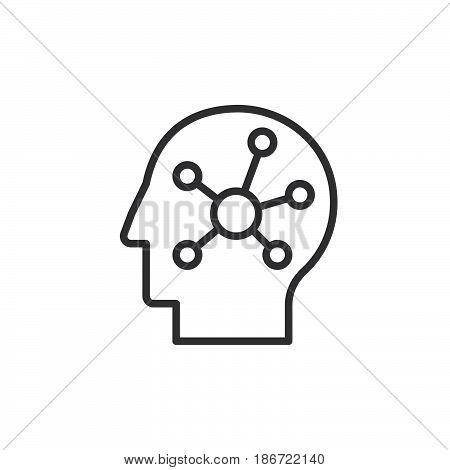 Mind map in a head line icon outline vector sign linear style pictogram isolated on white. Symbol logo illustration. Editable stroke. Pixel perfect