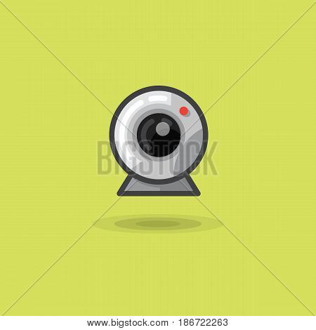 Vector icon web camera for computer or laptop. Illustration of a flat web camera on a green background