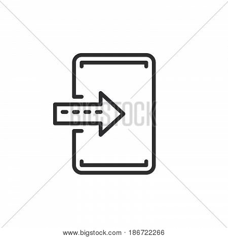 Import enter line icon outline vector sign linear style pictogram isolated on white. Symbol logo illustration. Editable stroke. Pixel perfect