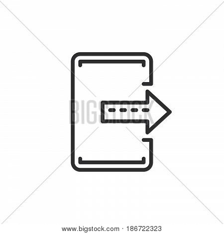 Export exit line icon outline vector sign linear style pictogram isolated on white. Symbol logo illustration. Editable stroke. Pixel perfect