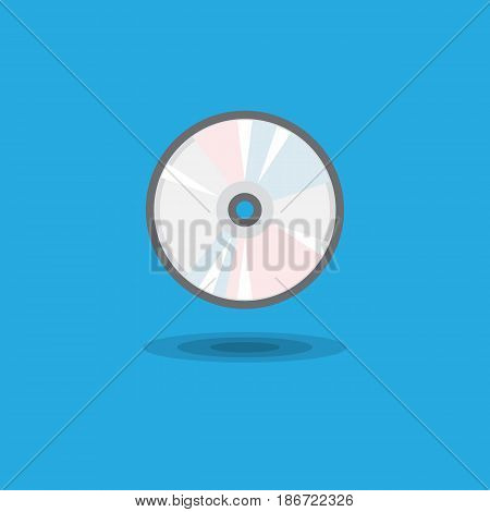 Vector icon CD drive for computer or music CD disk flat. Illustration of computer equipment and accessories on blue background