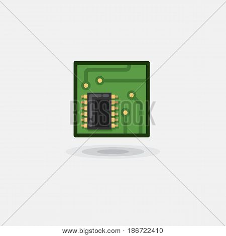 Vector icon computer chip, electronic board, computer board is flat. Illustration of a microcircuit, computer hardware on a white background