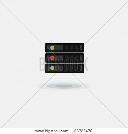 Vector icon computer server, computer database isolated. Illustration of a computer hardware data center on a white background