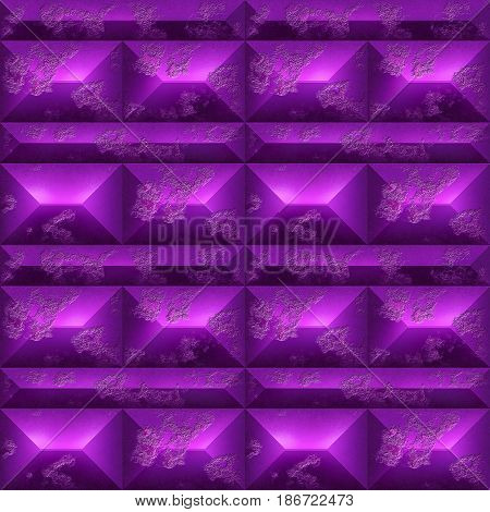 Abstract seamless relief pattern of amethyst mosaic. Purple and pink background of beveled rectangles and blocks. 3d rendering