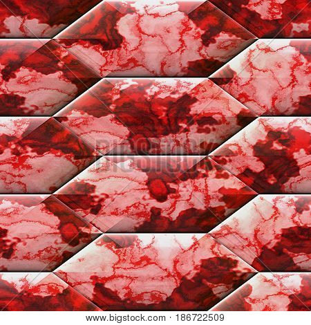 Abstract seamless pink, red and white marbled pattern with veined structure. Hexagonal relief pattern with mottled texture. 3d rendering
