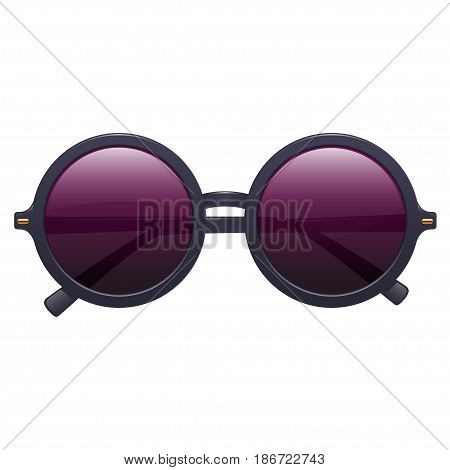 Realistic fashionable round sunglasses with plastic rims. On white background. Vector isolated illustration.