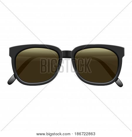 Realistic fashionable dark sunglasses with plastic rims. On white background. Vector isolated illustration. Eps 10.