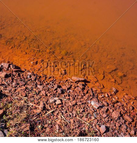 Soil and water in the reservoir of industrial mine water discharge