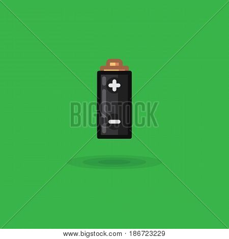 Vector icon battery with poles charging plus and minus. Illustration of polarity battery on a green background