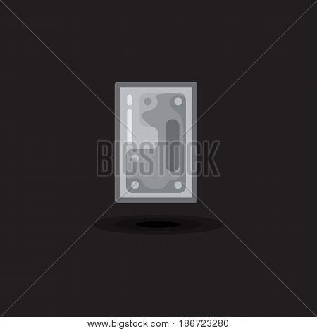 Vector icon computer hard drive, hdd, ssd disk isolated. Illustration flat computer hardware on black background