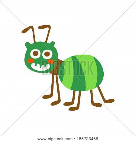 Cute cartoon green ant colorful character vector Illustration isolated on a white background