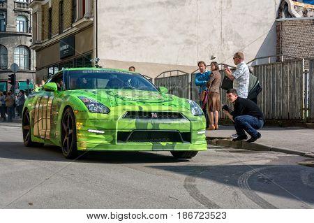 Riga, LV - MAY 22, 2013: Gumball 3000 race car