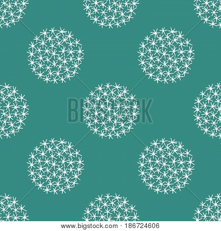 Seamless Christmas New Year pattern white snowballs stars flakes on green blueish background, gift wrapping paper, fabric, ceramic template