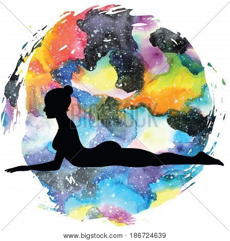 Women silhouette on galaxy astral background. Sphinx yoga Pose. Salamba Bhujangasana. Vector illustration