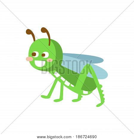 Cartoon smiling grasshopper colorful character vector Illustration isolated on a white background
