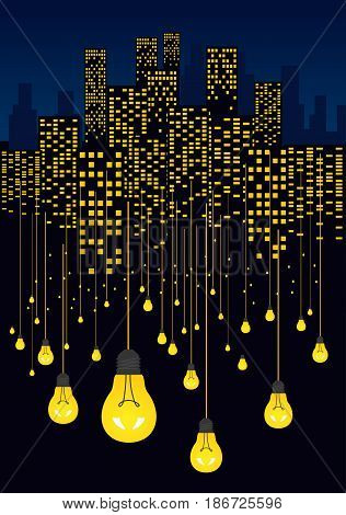 Night city and glowing light bulbs hanging on the wires. Energy saving concept