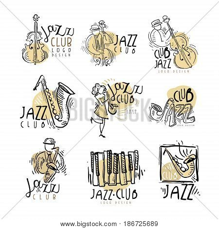 Jazz club labels set. Vintage hand drawn vector Illustrations isolated on white background